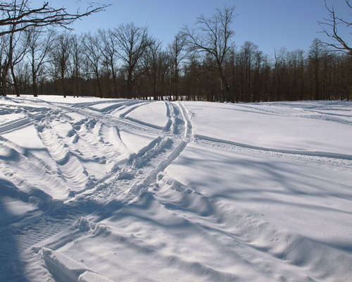 Следы на снегу от колес машины