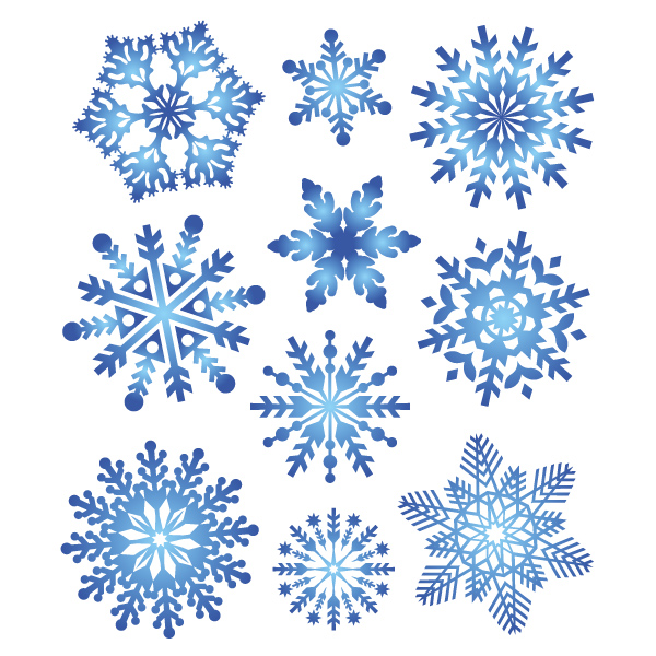 разные виды снежинок